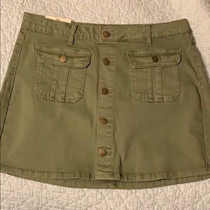 Olive button-up skirt